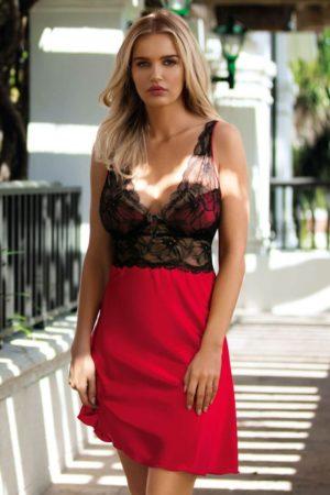 Rød nattkjole i sateng med blonder
