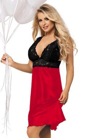 Rød romantisk nattkjole i sateng med