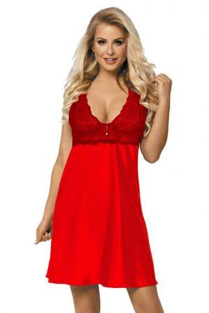 Rød nattkjole i sateng med blonder - sexy design - TopLady
