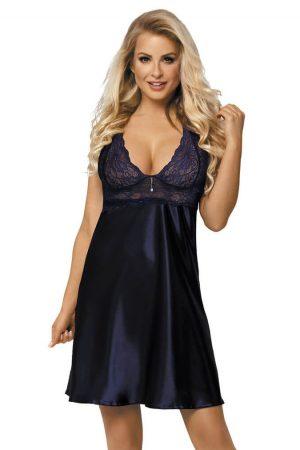 Mørk blå nattkjole i sateng med blonder - TopLady