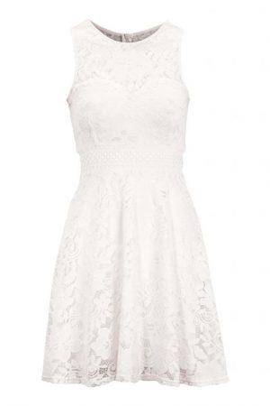 Fin hvit blondekjole i trikot, fra CHIARA FORTHI - TopLady