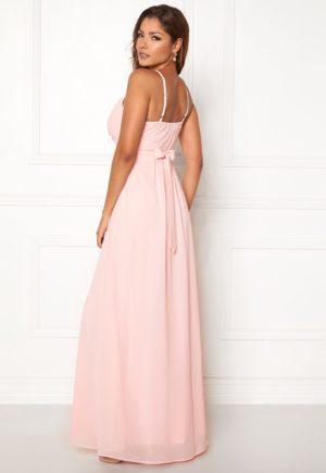 Rosa lang Chiffon-kjole med fint drapert overdel